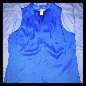 Banana Republic blue silky sleeveless top